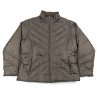 Eddie Bauer Womens XL Olive Green Quilted Goose Down Full Zip Puffer Jacket Coat
