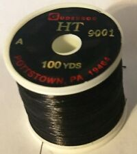 Gudebrod HT Metallic Rod Building Thread BLACK #9001 Size A 100 Yd Spool NOS