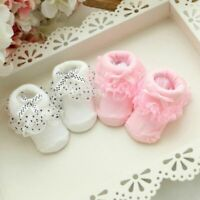1 Pairs Non-slip Cotton Girl Kid Newborn Baby Socks Warm Bow Knots Booties Socks