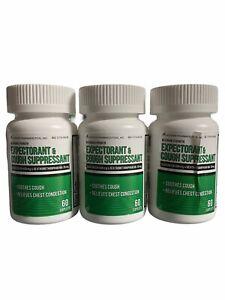 New 3ct Expectorant & Cough Suppressant, Maximum Strength, 60 Caplets ea, 03/23