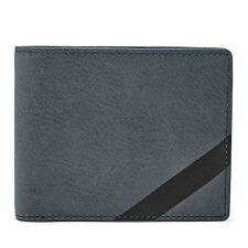 FOSSIL Mens RFID Ace Bifold Flip ID Wallet Gray Leather ML3787020 NIB MSRP $50