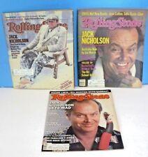 JACK NICHOLSON ~ Lot of 3 Vintage ROLLING STONE MAGAZINES 1981, 1984, 1986