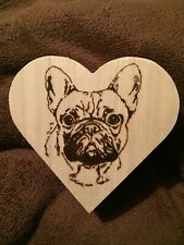 Wooden Pyrography French bulldog Heart Shaped Box