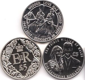 £5 Coin Uncirculated Five Pound Coins x 3 Guernsey Jersey British Royal Weddings