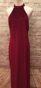 NEW Forever 21 Womens M Red Wine Backless Velvet Ribbed Long Maxi Dress Choker