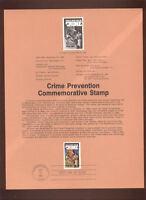 #2102 20c Crime Prevention USPS #8431 Souvenir Page