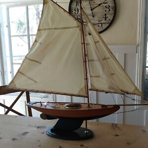 Vtg Wood Pond Model Yacht Ship Boat Sailboat Navy Blue Nautical Coastal Schooner