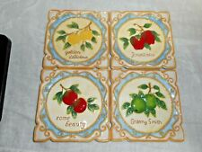 """MWW Market AN APPLE A DAY 4.5"""" Square Mini Plate/Tile Set of 4 Different Apples"""