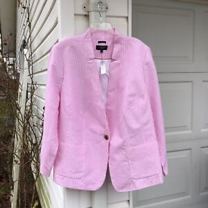 NWT Talbots Beautifully Made Pink White Striped Linen Lined Blazer/Jacket 24W 3X