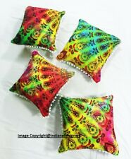 Modern Amazing Colorful Peacock Style Mandala Design Set Of 4 Pcs Cushion Cover