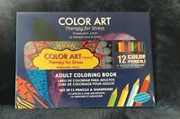 Color Art Adult Coloring Book Vol 2 + 12 Pencils/Sharpener-Therapy for Stress!