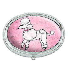 Poodle Paris France French Dog Metal Oval Pill Case Box