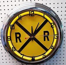 "17"" RAILROAD Crossing Neon Clock Rail Road"