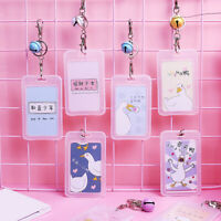 Cute Cartoon Duck Bell Pendant ID Badge Bus Card Holder Keychain Key Ring Newly