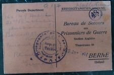 1917 Friedrichsfeld Germany POW CAmp Cover Parcel Acknowledgment Card To Switzer