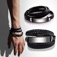 Unisex Women Men PU Leather Stainless Steel Twisted Long Multi-layer Bracelet UK
