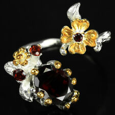 REAL DARK ORANGE RED GARNET & SAPPHIRE STERLING 925 SILVER FLOWER RING 8.25-9.25