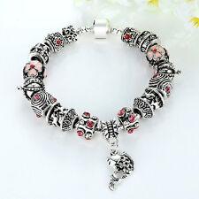 Wostu Retro European 925 silver Charms Bracelet With Flower CZ Fish For Women