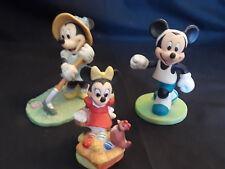 Vntg Disney Lot Of 3 Porcelain Figurines Garden Minnie Jogging Mickey Minnie egg
