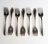 7 Oneida American Harmony or Arbor stainless steel salad forks beaded edge