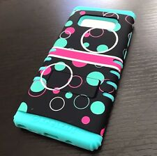 For Samsung Galaxy Note 8 - Hybrid Armor Phone Case Cover Mint Blue Pink Bubbles