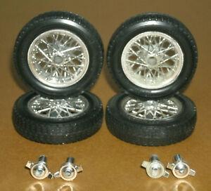 1/18 Scale Englebert Tire Set on Ferrari 250 TR Borrani Classic Wire Wheels