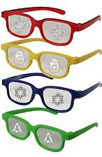Plastic Christmas Glasses Holiday Eyes ADULT 4 PAIRS Snowman Tree Snowflake Star
