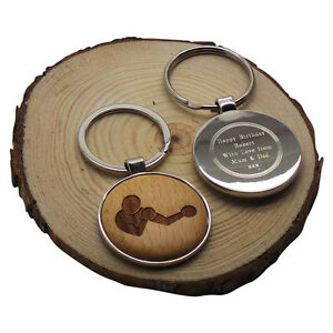 BOXING Wood & SILVER Keyring Personalised  Engraved BOXER FIGHTER GLOVES FIGHT