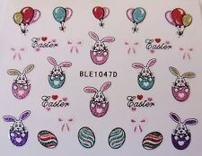 3D Nail Art Sticker Easter Bunny Bows Eggs Hearts Balloons Glitter Decal 1047
