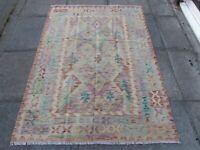 Kilim Old Traditional Hand Made Afghan Oriental Kilim Pink Purple Wool 175x125cm