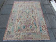 Kilim Old Traditional Hand Made Afghan Oriental Kilim Pink Purple Wool 175x125cm