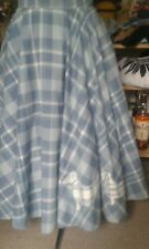 Hand Made Vintage 1950s Style Daschund/Dog Blue Check Full Circle Skirt -14