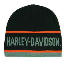 Harley-Davidson® Men's Striped Knit Cap Embroidered Black Hat KNCUS027030