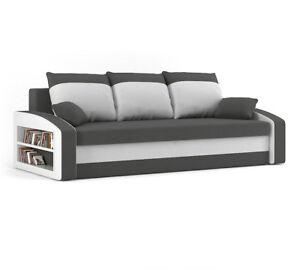 Couch HEWLET MIT REGAL mit Schlaffunktion BEST Couch mit Bettkasten!