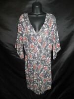 Garnet Hill L Gray Red Floral Dress Empire Waist V Neck 3/4 Sleeve Stretch Knit