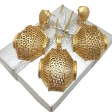Ladies Gold Filled Bold Half Basket Weave Design Pendant and Earring Set