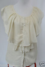 **TEMT** EUC Ivory Tiered Button Down Blouse 8 S Shimmer Blouse Ruffles Layers