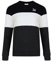Men's New Puma Fleece Lined Sweatshirt Jumper Sweater Pullover - Dark Grey