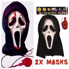 2x SCREAM BLEEDING HALLOWEEN BLOOD HOODED BULK HALLOWEEN HORROR SCARY MASK