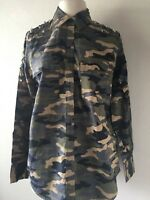 True Religion Women's Embellished Camouflage Studded Shirt Top Size XS WSGDC175C