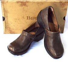 NEW Born Toby 7/38 Closed Back Clogs Brown Leather Padded Foot Bed Medium Heel