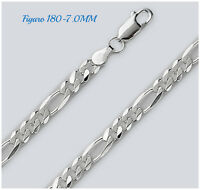 925 Sterling Silver FIGARO 180 - 7.0MM ITALIAN LOBSTER LOCK CHAIN With GIFT BOX