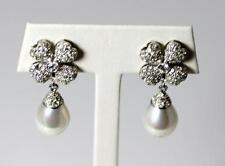 "Beautiful Pair of Sterling Silver Earrings with CZ & Faux Pearls 1.25"" - 10589"