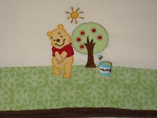 Winnie The Pooh Cream Fleece Baby Blanket Green Leaves Tree Hunny Pot Brown Trim