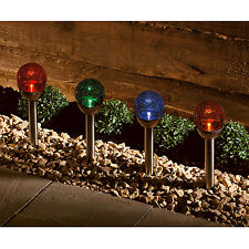 4 Solar Powered Crackle Glass Ball Lights Colour Changing LED Garden Globe Light