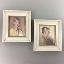 "Lot of 2 vintage framed child portrait prints Charlotte & Peter 6"" x 6.75"" each"