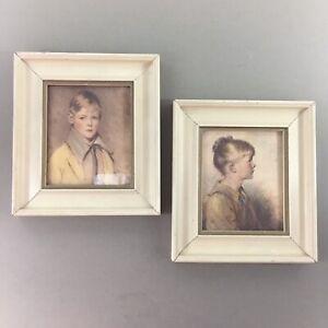 """Lot of 2 vintage framed child portrait prints Charlotte & Peter 6"""" x 6.75"""" each"""