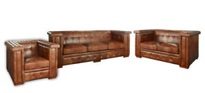 Derbyshire Genuine Light Brown Leather Sofa Set of 3