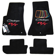 2011-2017 Dodge Challenger Classic R/T Floor Mats - Black - Silver & Red Logos