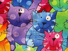 I Gatti in Tessuto Fat Quarter Cotton Craft Quilting Multi Colore Happy sventolando